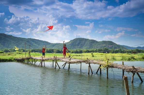 asian children bridge children clouds